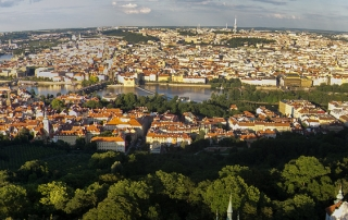 Panorama of Prague from top of Petrin Observation Tower